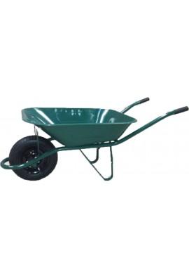 Carro de obra verde con caja metalica