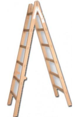 Escalera tijera madera peldaño canto